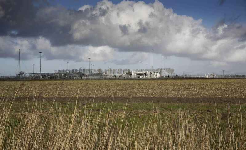 A view of a gas production plant is seen in 't Zand in Groningen