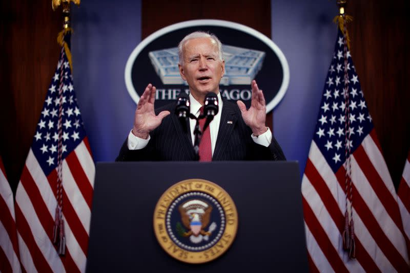 FILE PHOTO: U.S. President Joe Biden visits the Pentagon in Arlington, Virginia