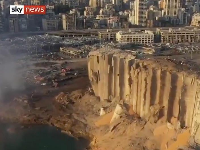 An aerial image broadcast by Sky News showing the port in Beirut after the explosion on Tuesday.
