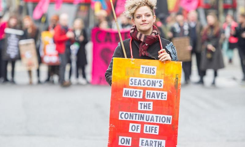 Extinction Rebellion protests outside London Fashion Week in February