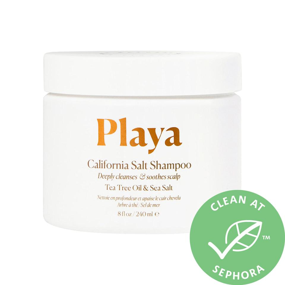 """<h3><a href=""""https://www.sephora.com/product/california-salt-scalp-scrub-shampoo-P450087"""" rel=""""nofollow noopener"""" target=""""_blank"""" data-ylk=""""slk:Playa California Salt Scalp Scrub Shampoo"""" class=""""link rapid-noclick-resp"""">Playa California Salt Scalp Scrub Shampoo</a></h3><br>Playa's new Scrub Shampoo tackles all your scalp woes with a power pairing of tea tree oil and sea salt to offer manual exfoliation with soothing benefits. (For the record, Sephora reviewers swear by the stuff for boosting shine and volume, too.)<br><br><strong>Playa</strong> California Salt Scalp Scrub Shampoo, $, available at <a href=""""https://www.sephora.com/product/california-salt-scalp-scrub-shampoo-P450087"""" rel=""""nofollow noopener"""" target=""""_blank"""" data-ylk=""""slk:Sephora"""" class=""""link rapid-noclick-resp"""">Sephora</a>"""