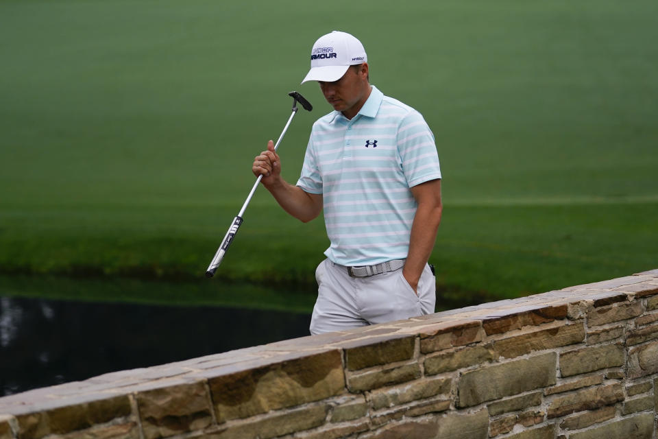 Jordan Spieth walks across the Sarazen Bridge on the 15th hole during the third round of the Masters golf tournament on Saturday, April 10, 2021, in Augusta, Ga. (AP Photo/Matt Slocum)