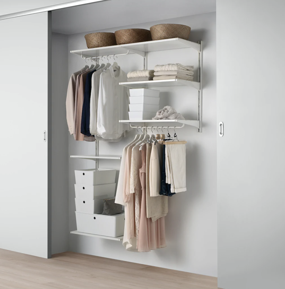 """<p><a class=""""link rapid-noclick-resp"""" href=""""https://go.redirectingat.com?id=74968X1596630&url=https%3A%2F%2Fwww.ikea.com%2Fus%2Fen%2Fcat%2Falgot-system-11468%2F&sref=https%3A%2F%2Fwww.goodhousekeeping.com%2Fhome%2Forganizing%2Fg32334735%2Fbest-closet-systems%2F"""" rel=""""nofollow noopener"""" target=""""_blank"""" data-ylk=""""slk:SHOP NOW"""">SHOP NOW</a></p><p>For a simple, affordable closet system, go for IKEA's ALGOT. The level of customization it offers is impressive, as you can select from a slew of components (think shelves, baskets, and shoe organizers) to suit your storage needs. </p>"""