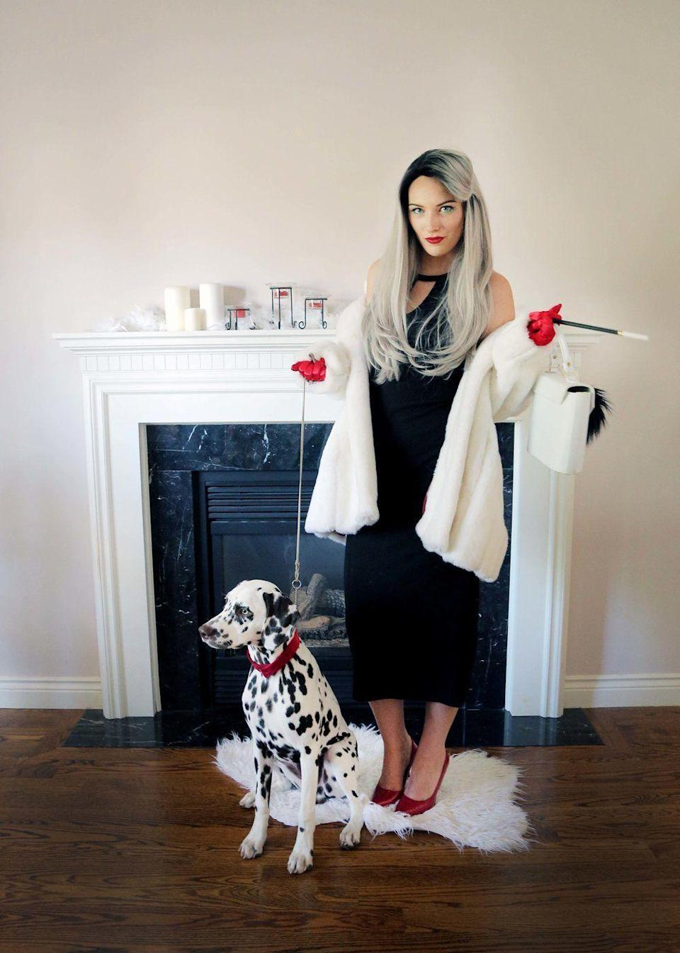 """<p>This sleek update on the Disney villainess includes a thrift store faux fur and a purse with black-and-white pom poms. It's so stunning you don't even need the dalmatian.</p><p><strong>Get the tutorial at <a href=""""https://www.thesorrygirls.com/lifestyle/cruella-de-vil-costume-tutorial"""" rel=""""nofollow noopener"""" target=""""_blank"""" data-ylk=""""slk:The Sorry Girls"""" class=""""link rapid-noclick-resp"""">The Sorry Girls</a>.</strong></p><p><a class=""""link rapid-noclick-resp"""" href=""""https://www.amazon.com/SAVITA-Elbow-Gloves-Stretchy-Evening/dp/B07NY7DVBL/ref=asc_df_B07NY7DVBL/?tag=syn-yahoo-20&ascsubtag=%5Bartid%7C10050.g.36674692%5Bsrc%7Cyahoo-us"""" rel=""""nofollow noopener"""" target=""""_blank"""" data-ylk=""""slk:SHOP RED SATIN GLOVES"""">SHOP RED SATIN GLOVES</a><br></p>"""