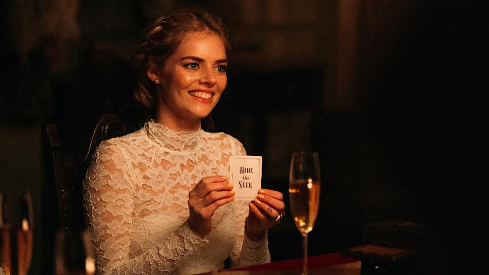 Samara Weaving is all smiles, for a short time, in horror movie 'Ready Or Not'. (Credit: Eric Zachanowich/20th Century Fox)