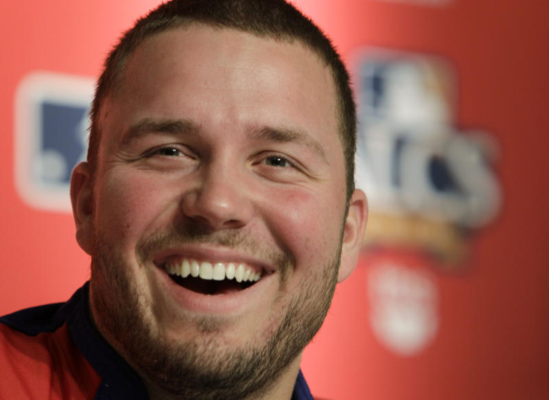 Texas Rangers pitcher Tommy Hunter speaks at a press conference before Game 3 of baseball's American League Championship Series against the New York Yankees Monday, Oct. 18, 2010, in New York. (AP Photo/Paul Sancya)