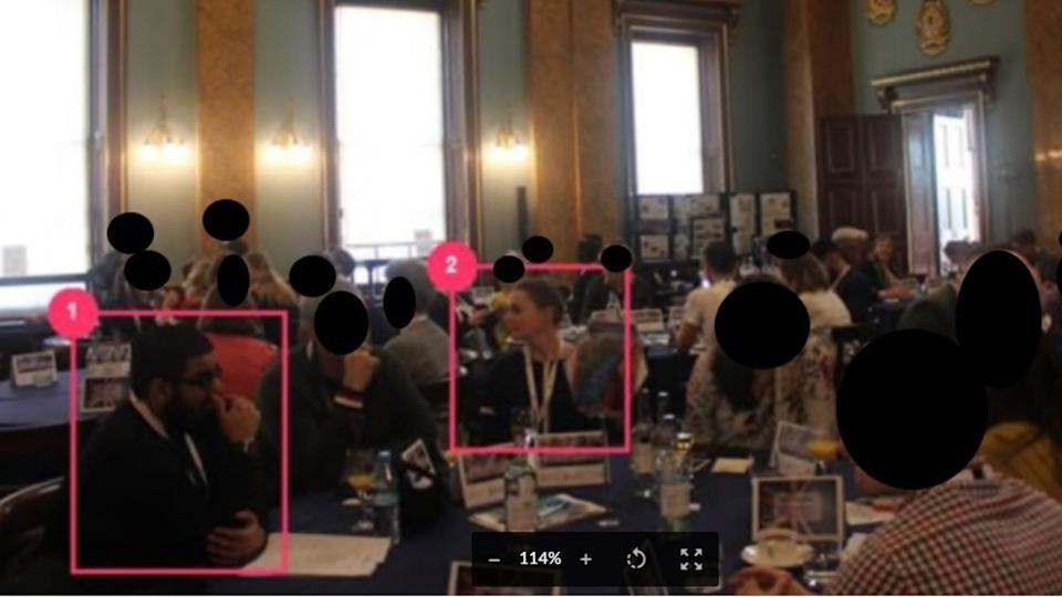 Usman Khan and his victim Saskia Jones are seen sharing a table at the event before the horror unfolded. (Met Police)