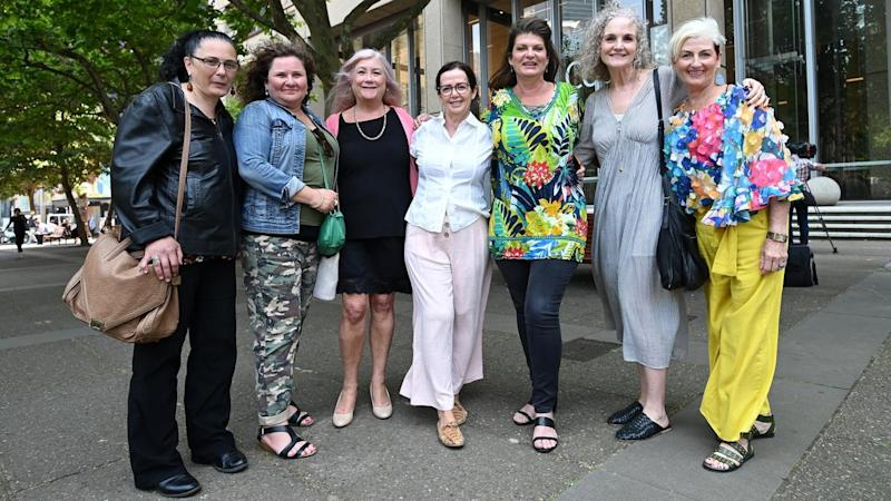 Julie Davis (third from right) says mesh implant victims were treated like guinea pigs