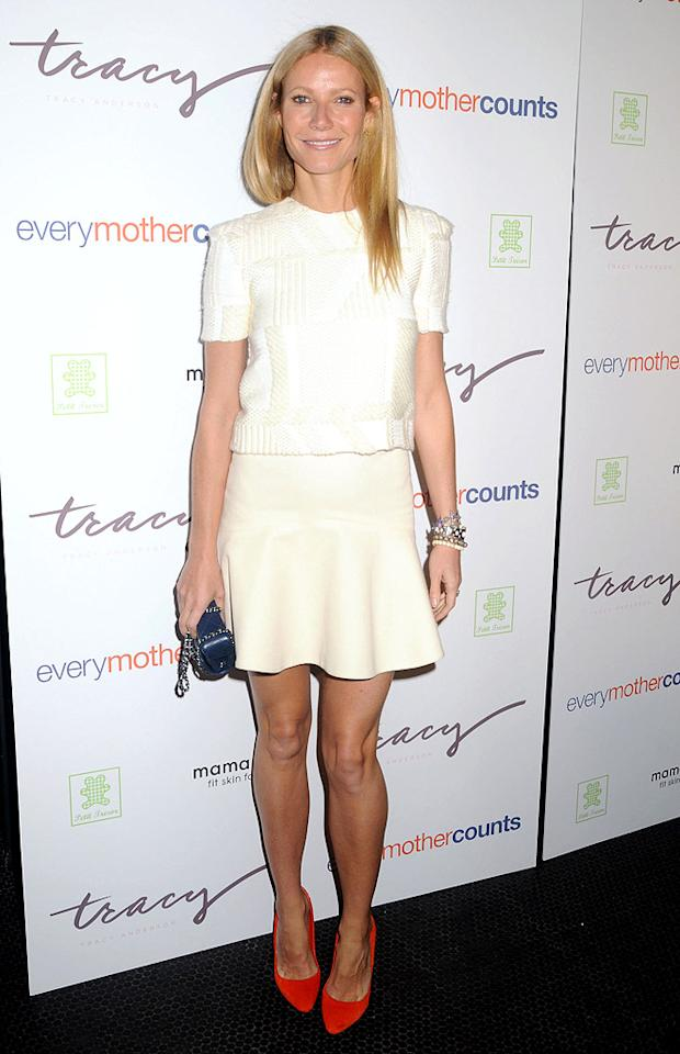 "Some of you may find this outfit -- or this actress -- a bit Plain Jane, but we think Gwyneth Paltrow tends to get it right ... at least when it comes to fashion. Sporting a Wes Gordon sweater, Misha Nonoo skirt, stacked bracelets, and Sergio Rossi pumps, the Goop.com blogger was all smiles as she entered the Every Mother Counts charity event in NYC. (10/5/2012)<br><br><a target=""_blank"" href=""http://omg.yahoo.com/news/gwyneth-paltrow-named-worlds-best-dressed-woman-150600770.html"">Paltrow named ""World's Best-Dressed Woman""</a>"