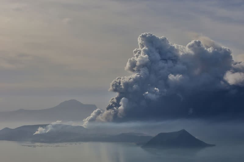 The errupting Taal Volcano is seen from Tagaytay City