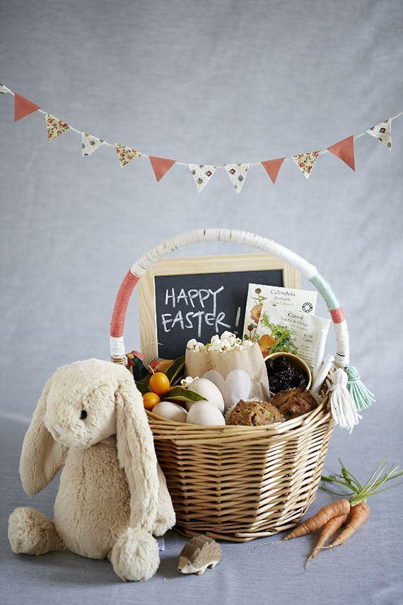"""<p>Dress up a simple Easter basket by wrapping yarn around the handle and letting a few tassels hang loose. </p><p><em><a href=""""http://www.100layercakelet.com/2013/03/26/a-natural-easter-basket/"""" rel=""""nofollow noopener"""" target=""""_blank"""" data-ylk=""""slk:Get the tutorial from 100 Layer Cakelet »"""" class=""""link rapid-noclick-resp"""">Get the tutorial from 100 Layer Cakelet »</a></em> </p>"""