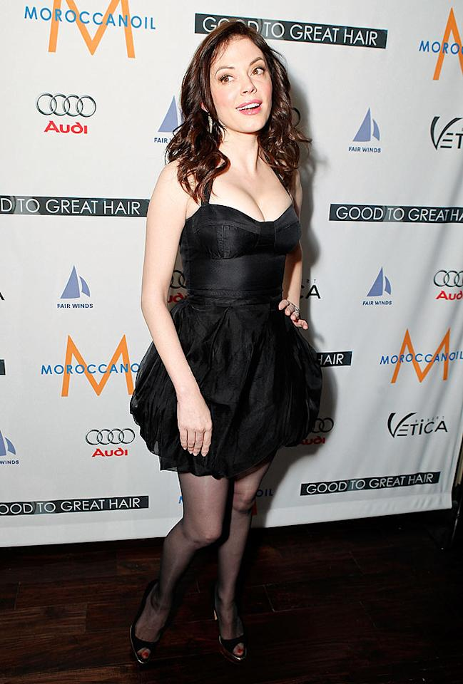"""""""Grindhouse"""" girl Rose McGowan attends the Robert Vetica """"Good to Great Hair"""" book launch, hosted by Salma Hayak, at Beso in Hollywood. Jeff Vespa/<a href=""""http://www.wireimage.com"""" target=""""new"""">WireImage.com</a> - February 26, 2009"""