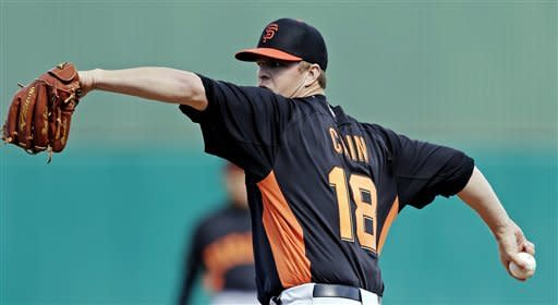 San Francisco Giants' Matt Cain throws before an exhibition spring training baseball game against the Chicago Cubs, Sunday, Feb. 24, 2013, in Mesa, Ariz. (AP Photo/Morry Gash)