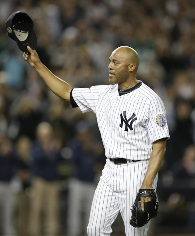 New York Yankees relief pitcher Mariano Rivera tips his cap in the ninth inning of his final appearance in a baseball game at Yankee Stadium, against the Tampa Bay Rays on Thursday, Sept. 26, 2013, in New York. The Yankees won 4-0. (AP Photo/Kathy Willens)