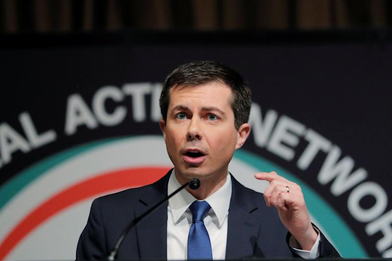 Pete Buttigieg speaks at the 2019 National Action Network conference in New York City on Thursday. (Lucas Jackson/Reuters)