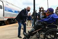 Democratic presidential candidate Joe Biden met voters during a campaign stop in Alliance, Ohio the morning after a bruising debate with President Donald Trump in Cleveland just five weeks before the US election on November 3, 2020
