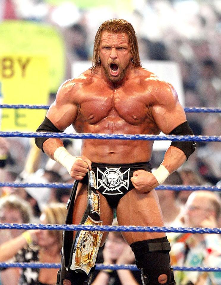 """However, """"The Game"""" had the last laugh as he pinned Randy Orton following a devastating double underhook facebuster to retain the WWE Championship. Bob Levey/<a href=""""http://www.wireimage.com"""" target=""""new"""">WireImage.com</a> - April 5, 2009"""