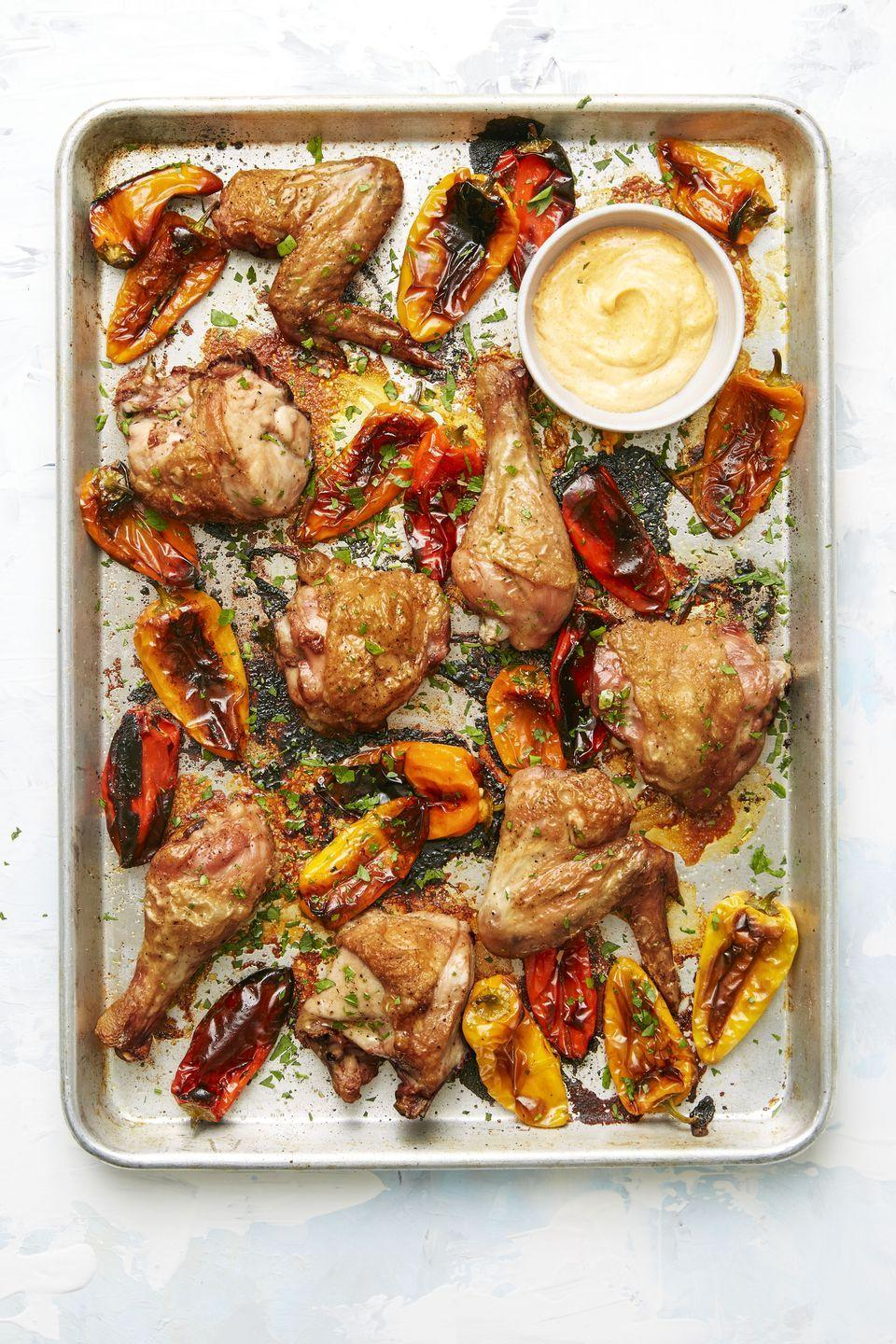 "<p>This one-and-done sheet pan dinner means less dishes to wash. You're welcome!</p><p><em><a href=""https://www.goodhousekeeping.com/food-recipes/easy/a34144/spanish-chicken-peppers/"" rel=""nofollow noopener"" target=""_blank"" data-ylk=""slk:Get the recipe for Spanish Chicken and Peppers »"" class=""link rapid-noclick-resp"">Get the recipe for Spanish Chicken and Peppers »</a></em></p>"