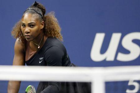 Sep 8, 2018; New York, NY, USA; Serena Williams of the United States prepares to serve against Naomi Osaka of Japan (not pictured) in the women's final on day thirteen of the 2018 U.S. Open tennis tournament at USTA Billie Jean King National Tennis Center. Mandatory Credit: Geoff Burke-USA TODAY Sports