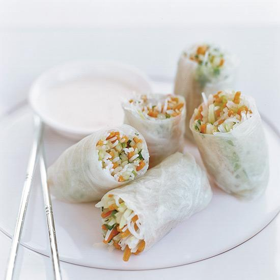 <p>Douglas Keane says that these summer rolls, filled with tangy marinated daikon, cucumber and papaya, are the perfect way to jolt the palate before a rich meal that will likely include truffles and foie gras.</p>