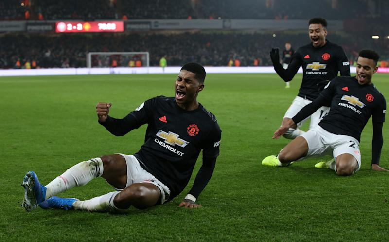 SHEFFIELD, ENGLAND - NOVEMBER 24: Marcus Rashford of Manchester United celebrates scoring their third goal during the Premier League match between Sheffield United and Manchester United at Bramall Lane on November 24, 2019 in Sheffield, United Kingdom. (Photo by Matthew Peters/Manchester United via Getty Images)