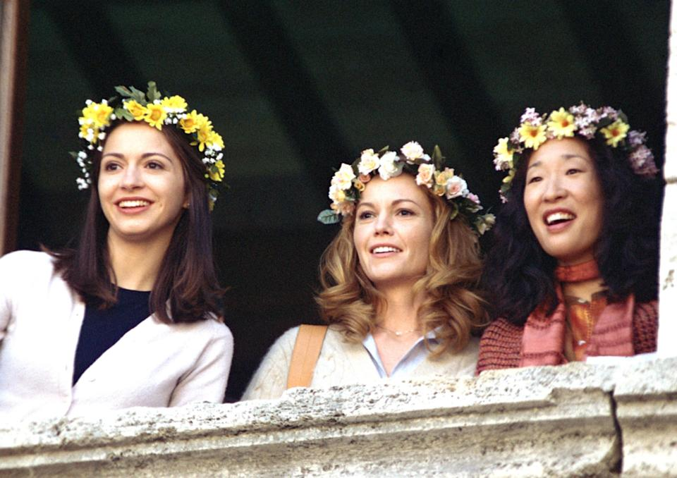 """<p>Another Italian-set getaway! Diane Lane plays a recently divorced writer who takes a solo vacation to the country on the advice of her best friend (played by Sandra Oh). Once she's there, she's so charmed that she buys a villa on a whim. While we don't usually recommend hasty real estate decisions, we <em>do</em> encourage you to check out this movie. </p> <p><a href=""""https://www.amazon.com/Under-Tuscan-Sun-Diane-Lane/dp/B003QSBYD0"""" rel=""""nofollow noopener"""" target=""""_blank"""" data-ylk=""""slk:Available to rent on Amazon Prime Video"""" class=""""link rapid-noclick-resp""""><em>Available to rent on Amazon Prime Video</em></a></p>"""