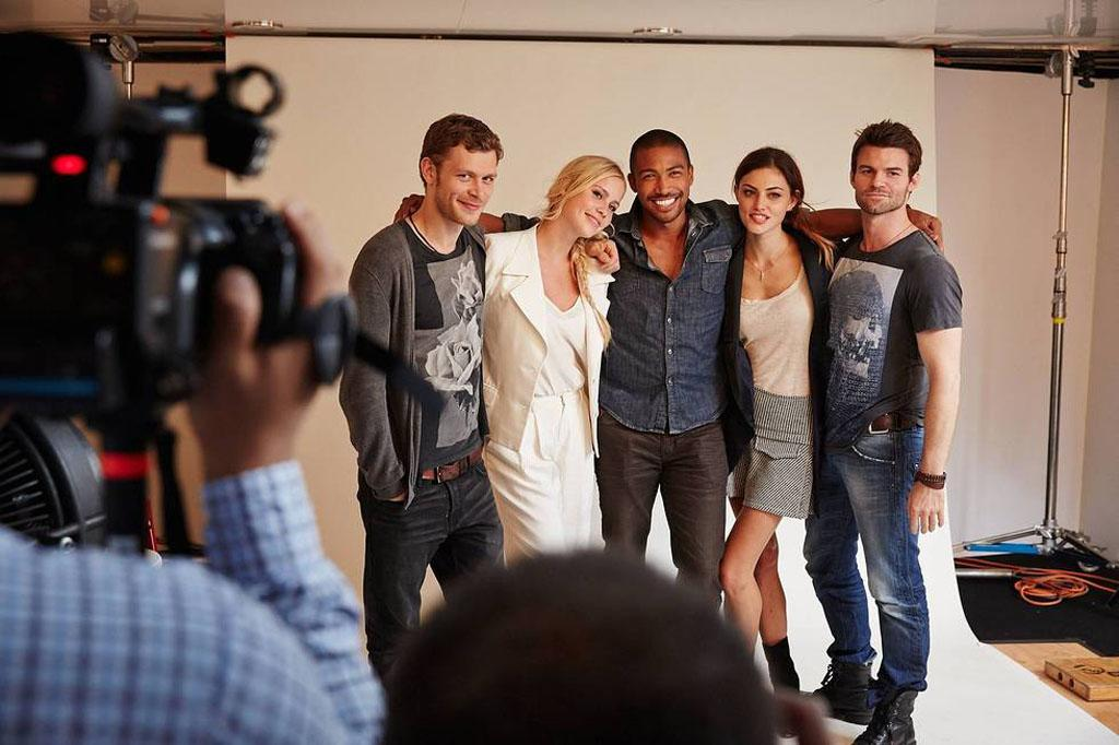 """Joseph Morgan, Claire Holt, Charles Michael Davis, Phoebe Tonkin and Daniel Gillies of """"The Originals"""" posing for TV Guide at the 2013 Comic-Con International Convention."""