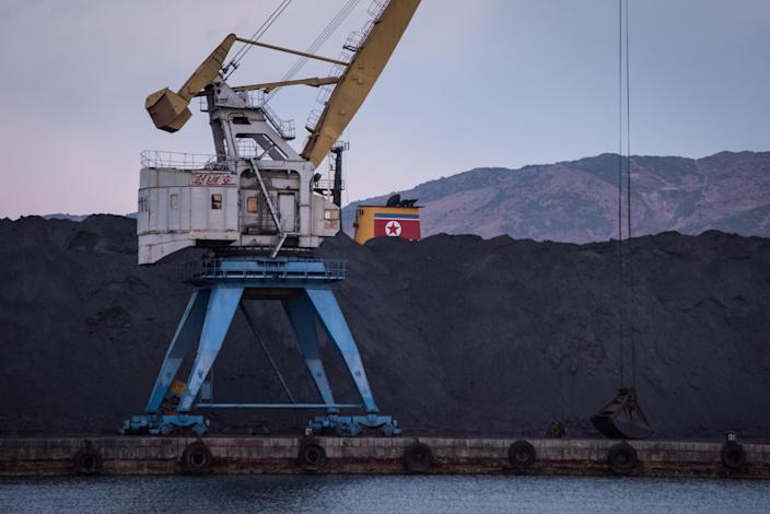A mound of North Korean coal at Rajin Harbor. (Photo: Ed Jones/AFP/Getty Images)