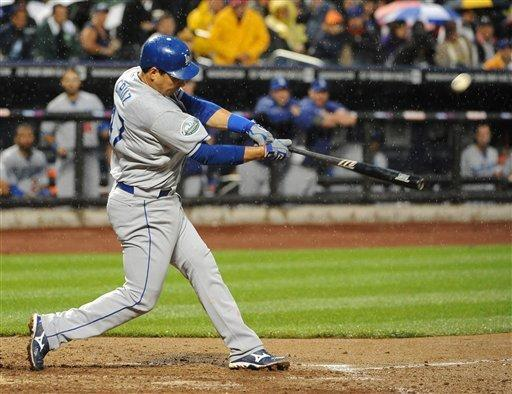 Los Angeles Dodgers' Luis Cruz (47) hits a two-run home run off of New York Mets starting pitcher Johan Santana in the third inning of a baseball game on Friday, July 20, 2012, at Citi Field in New York. (AP Photo/Kathy Kmonicek)