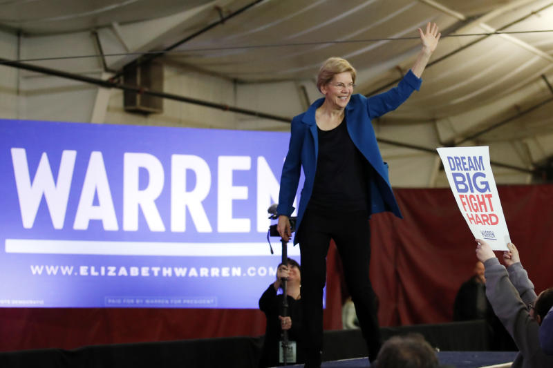 Democratic presidential candidate Sen. Elizabeth Warren, D-Mass., arrives to speak to supporters at a primary election night rally, Tuesday, Feb. 11, 2020, in Manchester, N.H. (AP Photo/Elise Amendola)