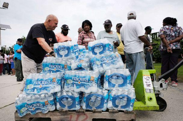 PHOTO: A pallet of bottled water is delivered to a recreation center on August 13, 2019 in Newark, New Jersey. (Spencer Platt/Getty Images)