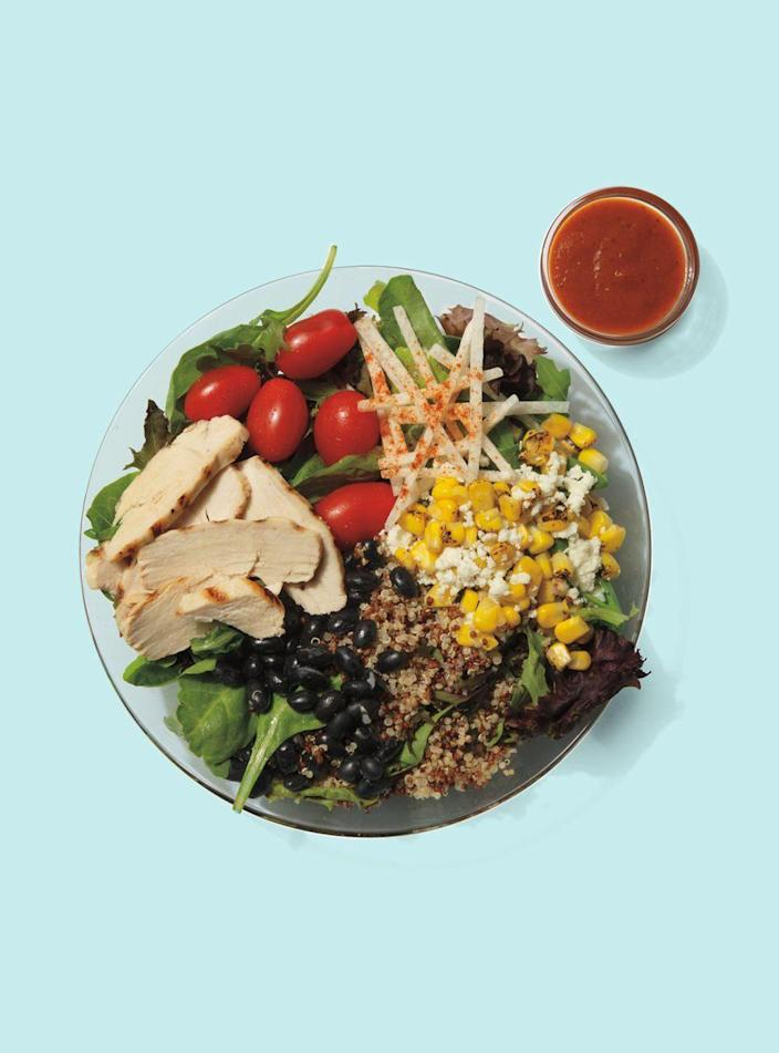 """<p><strong>Starbucks</strong></p><p>starbucks.com</p><p><a href=""""https://www.starbucks.com/menu/product/2122323/single?parent=%2Ffood%2Flunch%2Fprotein-bowls"""" rel=""""nofollow noopener"""" target=""""_blank"""" data-ylk=""""slk:Order Now"""" class=""""link rapid-noclick-resp"""">Order Now</a></p><p><strong>Calories</strong>: 420</p><p><strong>Sodium</strong>: 1,030mg</p><p><strong>Total Carbohydrates</strong>: 42g</p><p><strong>Protein</strong>: 27g</p><p>Starbucks' quinoa bowl is the most substantial meal you can get at the chain that can fit into a balanced diet. It packs in 9g of fiber and a hefty serving of protein, and the saturated fat counts aren't crazy thanks to heart-healthy ingredients in the bowl, Sassos says.</p><p><strong>Nutrition Lab Pro Tip</strong>: The sodium overload here comes from the chain's vinaigrette. Use as little as possible to avoid eating more than 1,000mg of sodium in one sitting. If it sounds yummy to you, try swapping out the vinaigrette for a cup or two of the avocado spread — the extra calories are worth dodging copious amounts of salt. </p>"""