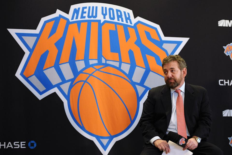 NEW YORK, NY - MARCH 18: James Dolan, Executive Chairman of Madison Square Garden looks on during the press conference to introduce Phil Jackson as President of the New York Knicks at Madison Square Garden on March 18, 2014 in New York City.