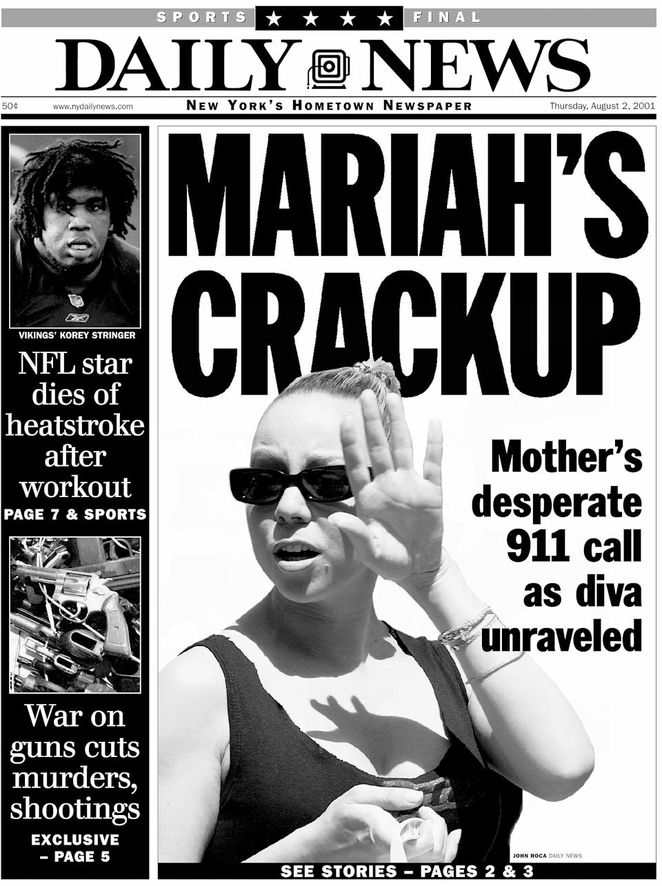 """The<em> New York Daily News</em> front page dated Aug. 2, 2001, had the headline """"Mariah's crackup."""" (Photo: NY Daily News Archive via Getty Images)"""