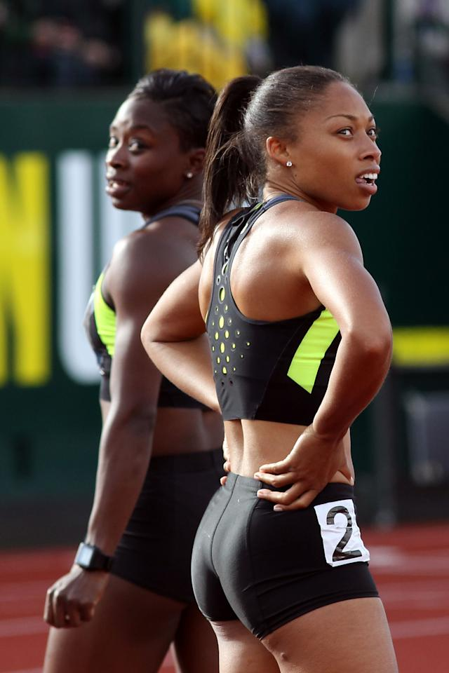 EUGENE, OR - JUNE 23:  Jeneba Tarmoh (L) and Allyson Felix look on after competing in the women's 100 meter dash final during Day Two of the 2012 U.S. Olympic Track & Field Team Trials at Hayward Field on June 23, 2012 in Eugene, Oregon.  (Photo by Michael Heiman/Getty Images)