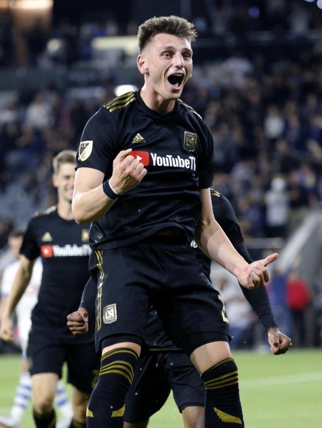 Los Angeles FC defender Tristan Blackmon celebrates his goal against the Montreal Impact during the second half of an MLS soccer match in Los Angeles, Friday, May 24, 2019. LAFC won 4-2. (AP Photo/Ringo H.W. Chiu)