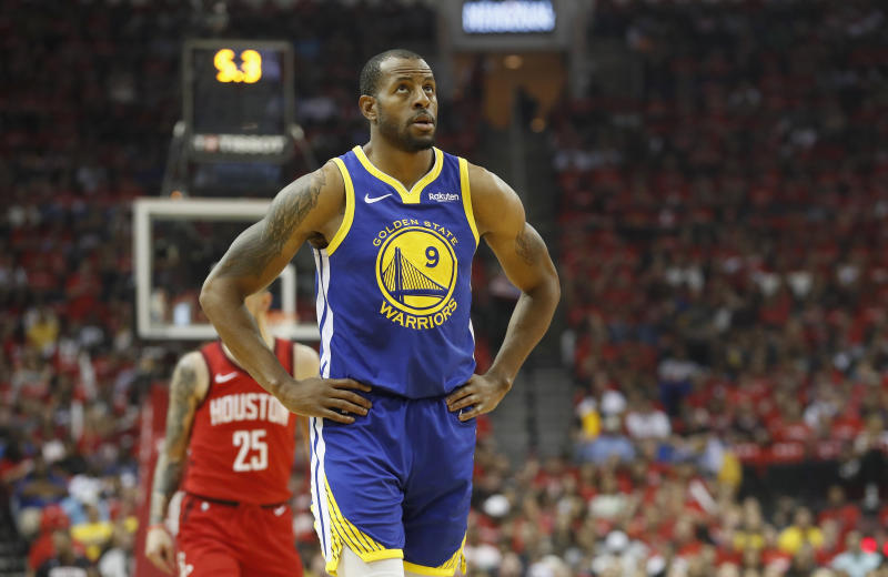 HOUSTON, TX - MAY 04: Andre Iguodala #9 of the Golden State Warriors reacts after a foul in the first quarter during Game Three of the Second Round of the 2019 NBA Western Conference Playoffs against the Houston Rockets at Toyota Center on May 4, 2019 in Houston, Texas. NOTE TO USER: User expressly acknowledges and agrees that, by downloading and or using this photograph, User is consenting to the terms and conditions of the Getty Images License Agreement. (Photo by Tim Warner/Getty Images)