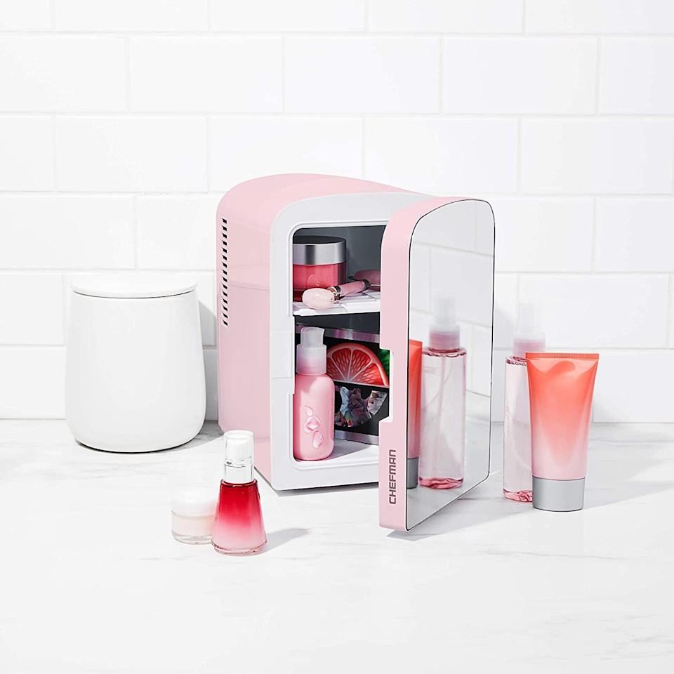 <p>Whether it's for snacks or skin care, the <span>Chefman Portable Mirrored Personal Fridge</span> ($40, originally $60) will be put to use. It's perfect for bedrooms, vanities, and even work-from-home desks.</p>