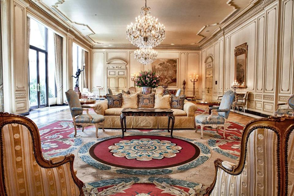 """<p><strong>How did it strike you on arrival?</strong><br> Once you get past the nondescript exterior and the Panera across the street, you step into the hotel and feel transported to <a href=""""https://www.cntraveler.com/activities/versailles/palace-of-versailles?mbid=synd_yahoo_rss"""" rel=""""nofollow noopener"""" target=""""_blank"""" data-ylk=""""slk:Versailles"""" class=""""link rapid-noclick-resp"""">Versailles</a>. The lobby is opulent, with Baccarat crystal chandeliers, French tapestries, and Persian rugs. It's a refreshing change of pace from the recent wave of modern, minimalist, millennial-focused hotels.</p> <p><strong>What's the crowd like?</strong><br> The elegance draws in a lot of couples and business travelers, but you'll also spot families.</p> <p><strong>On to the big stuff: Tell us about the rooms.</strong><br> In line with The Westgate's """"Versailles"""" vibe, the rooms feel like they're straight out of a European hotel. The Deluxe rooms have good views of the skyline, the Premier rooms have even better views of the skyline, and the seven suites feature private terraces from which, of course, you have a <em>wonderful</em> view of the skyline.</p> <p><strong>We're craving some deep, restorative sleep. They got us?</strong><br> Yes, expect cozy down pillows and down comforters to match.</p> <p><strong>Please tell us the bathroom won't let us down.</strong><br> The bathrooms are huge, with beautiful brass fixtures by the sink and in the shower. Don't miss the robes hanging in the closet.</p> <p><strong>We all need some good Wi-Fi. What's the word on that?</strong><br> The word is that it's not free: A $20 access fee pays for the in-room Wi-Fi, as well as turndown service and entry to the business lounge.</p> <p><strong>What are we talking for food here?</strong><br> There's weekend brunch with an eclectic, if not slightly odd California-inspired menu mix of Brioche French toast, dim sum, and a chorizo omelet, as well as room service (tacos, burgers, sandwiches), but the treat here"""
