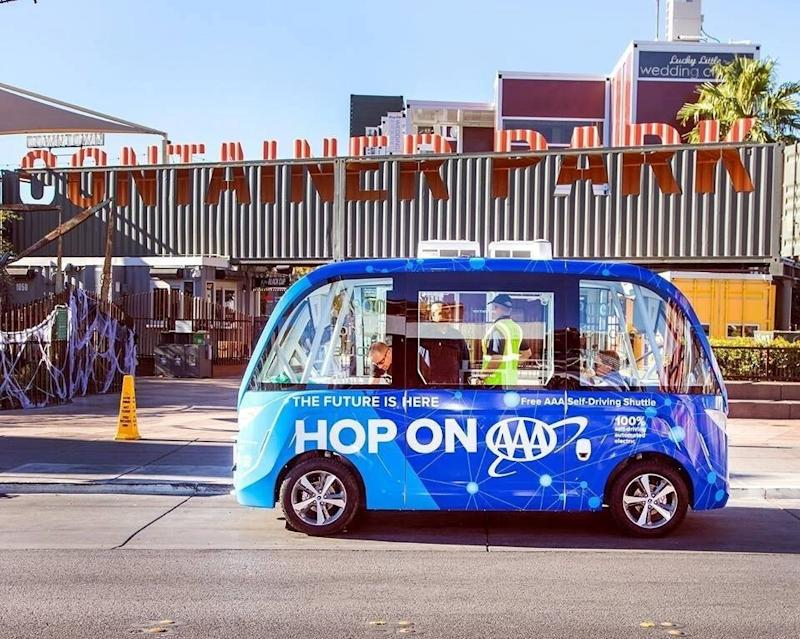 This driverless vehicle was involved in a fender bender during its first ride around Las Vegas on Wednesday. (City of Las Vegas)