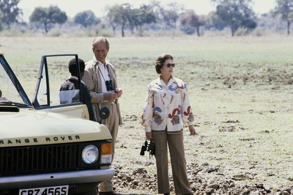 <p>Queen Elizabeth II and Prince Philip on safari during their state visit to Zambia in 1979.</p>