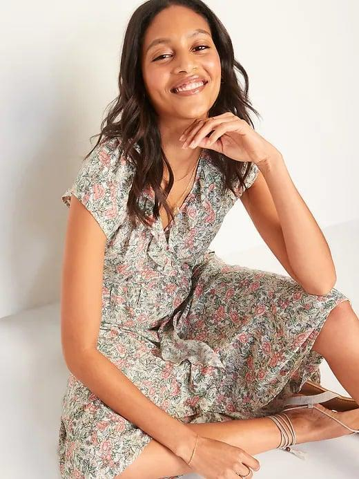 <p><span>Old Navy Ruffled Fit and Flare Tie-Belt Midi Wrap Dresses</span> ($40, originally $45)</p>
