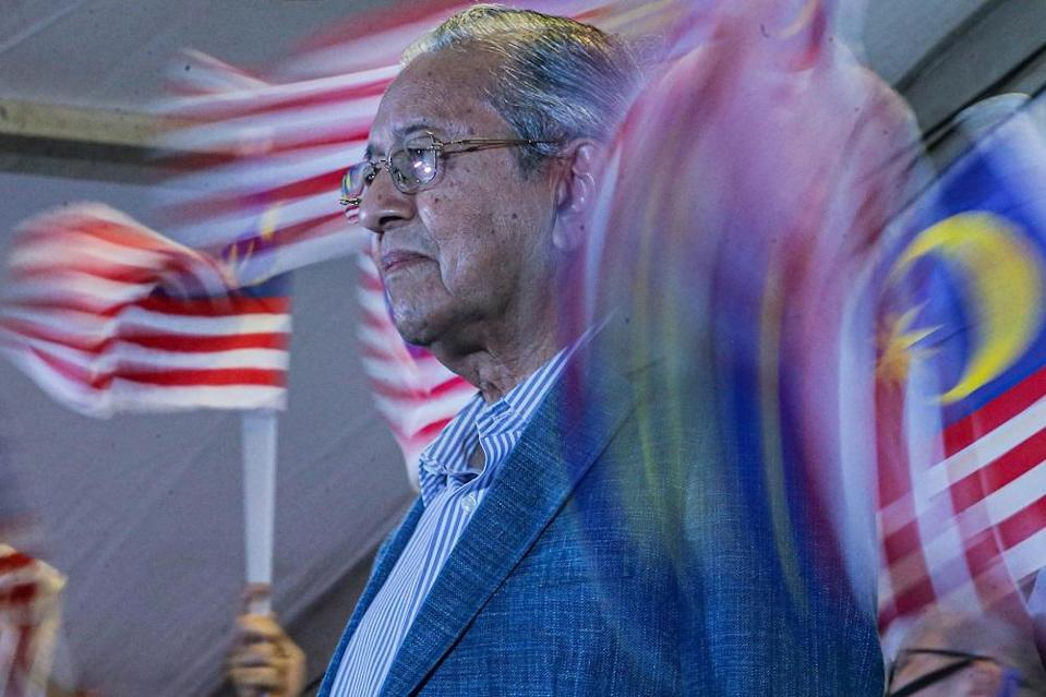 Tun Dr Mahathir Mohamad announces his newest political party, Pejuang on August 12, 2020. ― Picture by Hari Anggara