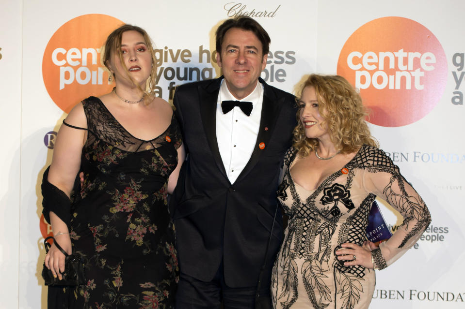 Jonathan Ross arrives with his wife Jane Goldman (right) and daughter Honey Kinney Ross at a fundraising event and awards evening in aid of Centrepoint, a charity which supports young rough sleepers, at Kensington Palace in London.