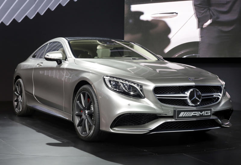The 2015 Mercedes Benz S63 AMG Coupe is introduced at the 2014 New York International Auto Show at the Javits Convention Center, Wednesday, April 16, 2014, in New York. (AP Photo/Richard Drew)