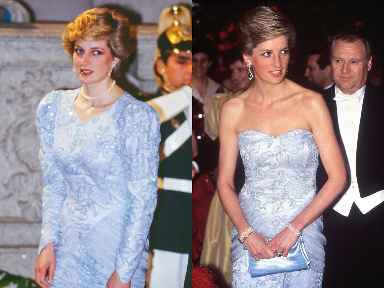 <p>Diana wore this long-sleeved gown for the first time during an official visit to Lisbon, Portugal in 1987. She then remade the dress, removing the sleeves and re-crafting it with a heart-shaped strapless neckline to wear to a charity ball two years later in 1989.</p>