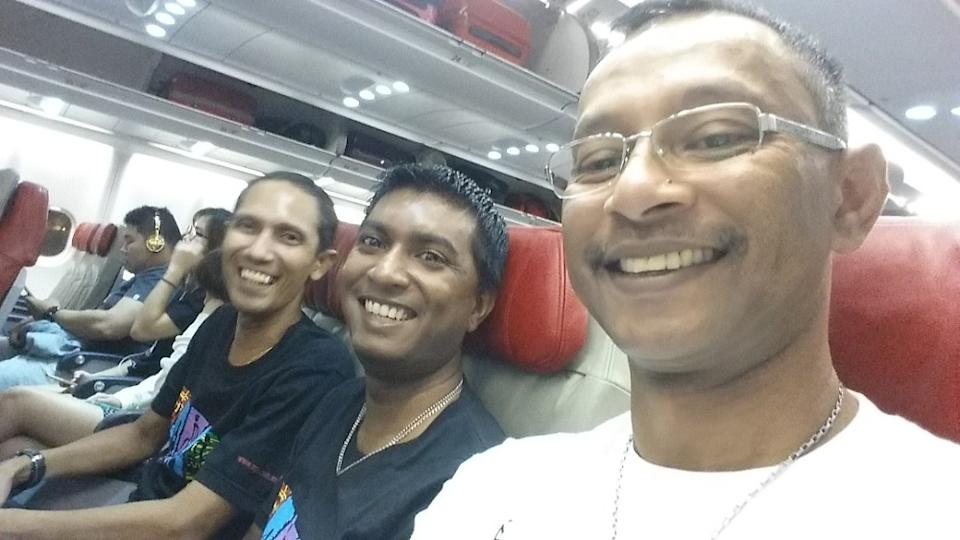 Sanjiv (centre) with his 'band family' ― Eddy Zachariah (left) and Mohamed Ariff (right). ― Picture courtesy of Aseana Percussion Unit (A.P.U)