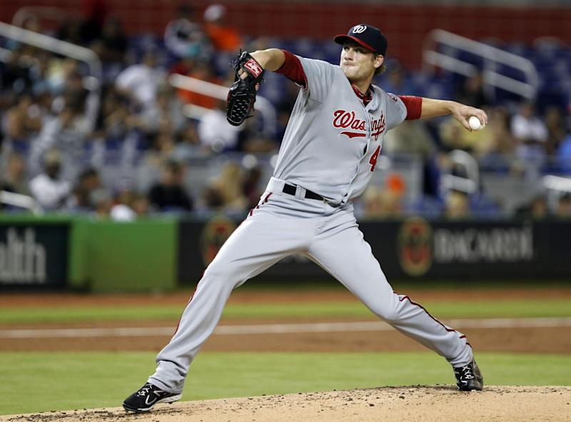 Washington Nationals' Ross Detwiler delivers a pitch during the second inning of a baseball game against the Miami Marlins, Wednesday, Aug. 29, 2012, in Miami. (AP Photo/Wilfredo Lee)