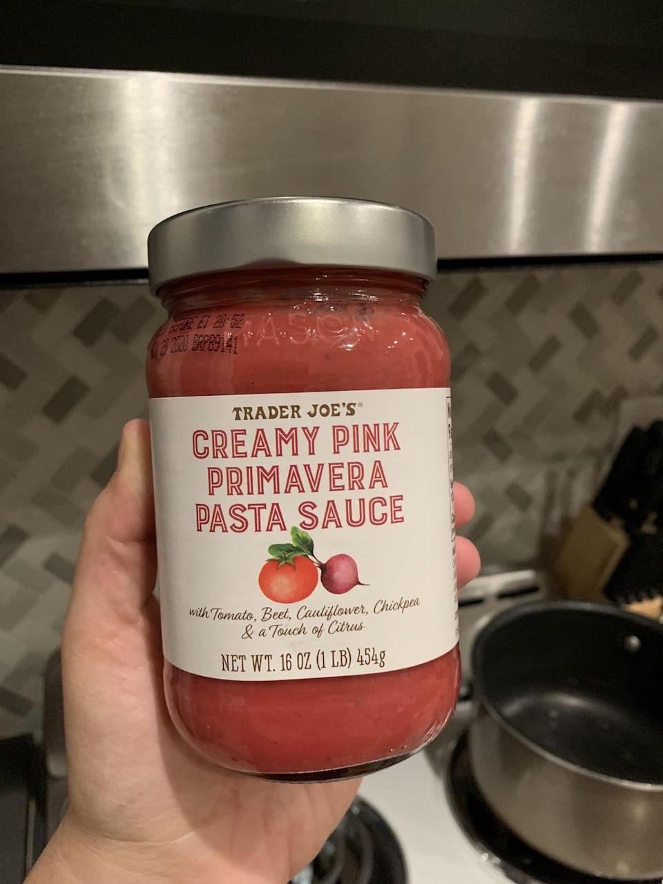 <p>If you're looking for a new, healthier pasta sauce option, this pretty pink sauce is made with a mix of tomatoes, beets, cauliflower, and chickpeas. Half a cup (the suggested serving size) has 130 calories, 3 grams of protein, and 6 grams of sugar.</p>