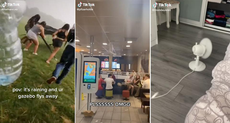 Screenshots of TikTok videos from the 'The killer is escaping' sound. Source: TikTok